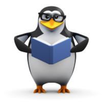 Preview stock photo 51415432 3d academic penguin reads a good book