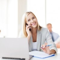 Preview depositphotos 29065301 stock photo businesswoman with phone in office