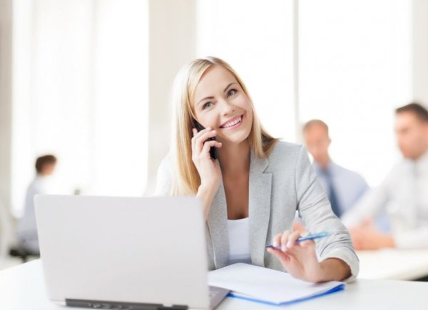 View depositphotos 29065301 stock photo businesswoman with phone in office
